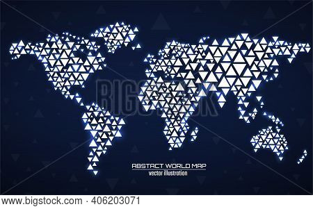 Abstract Geometric World Map With Glowing Triangles. Triangular Neon Background. Vector