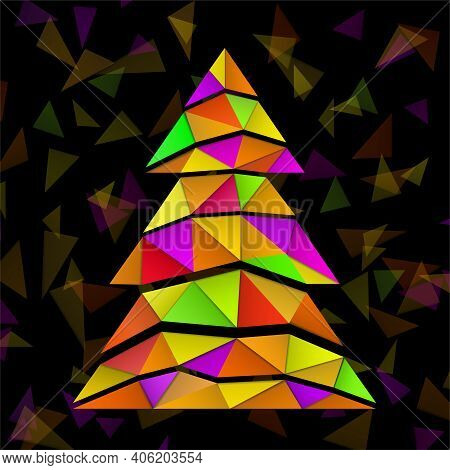 Abstract Christmas Tree With Colorful Triangles. Vector