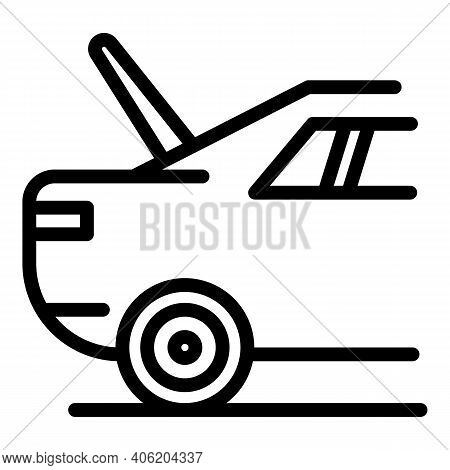 Car With Open Trunk Icon. Outline Car With Open Trunk Vector Icon For Web Design Isolated On White B