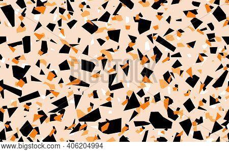 Geometric Beige Terrazzo Seamless Pattern. Abstract Colourful Modern Background. Stone Fashion Desig