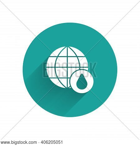White Earth Planet In Water Drop Icon Isolated With Long Shadow. World Globe. Saving Water And World