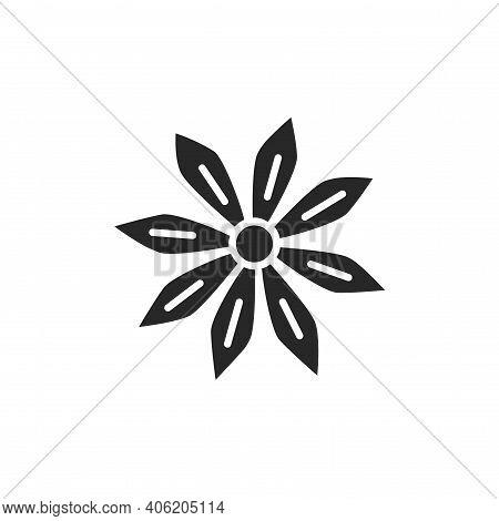 Star Anise Plant Black Glyph Icon. Vector Illustration