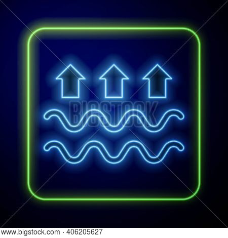 Glowing Neon Waves Of Water And Evaporation Icon Isolated On Blue Background. Vector