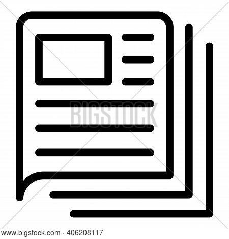 Paper Newspaper Icon. Outline Paper Newspaper Vector Icon For Web Design Isolated On White Backgroun