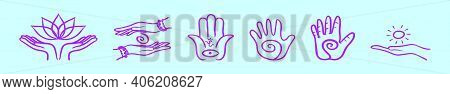 Set Of Healing Hand Cartoon Icon Design Template With Various Models. Modern Vector Illustration Iso
