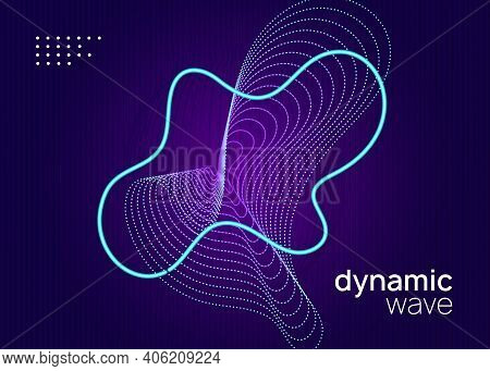 Electronic Fest. Dynamic Fluid Shape And Line. Minimal Concert Banner Layout. Neon Electronic Fest F