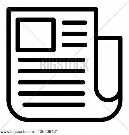 Press Newspaper Icon. Outline Press Newspaper Vector Icon For Web Design Isolated On White Backgroun