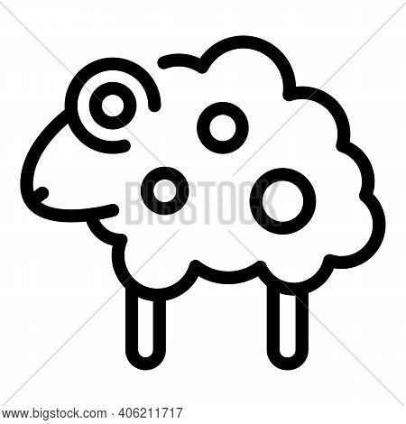 Farm Sheep Icon. Outline Farm Sheep Vector Icon For Web Design Isolated On White Background