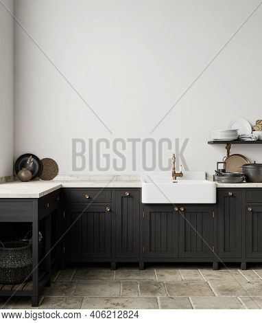 Black White Kitchen Interior With Sink, Furniture, Dishes And Decor. 3d Render Illustration Mock Up.