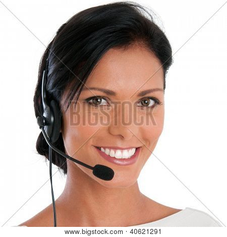 Smiling call center young woman ready for support and contact, isolated on white background