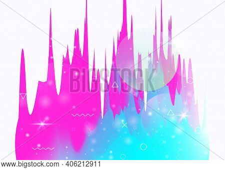 Future Landscape With Holographic Cosmos And Abstract Universe Background. Futuristic Gradient And S