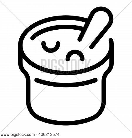 Sour Cream Pot Icon. Outline Sour Cream Pot Vector Icon For Web Design Isolated On White Background
