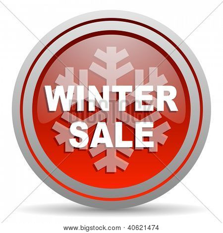 winter sale red glossy icon on white background