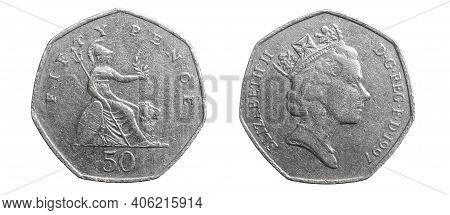 50 Pence Coin On A White Isolated Background