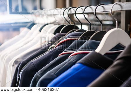 Supreme Commercial Grade Clothing Garment Rack With Hanging Polos For Sale. Clothes Retail Shop. Clo