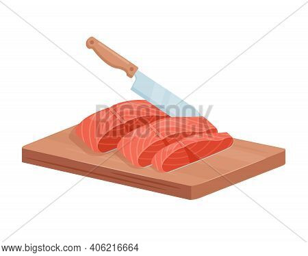 Cut Salmon Trout Fish Steaks With Chef Knife, 3d Raw Salted Or Smoked Seafood Fillet