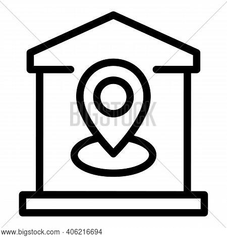 House Gps Location Icon. Outline House Gps Location Vector Icon For Web Design Isolated On White Bac