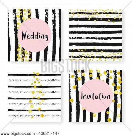 Elegant Shimmer. Stripe Girly Effect. Golden Premium Design. Black Mothers Particle. White Gatsby Il