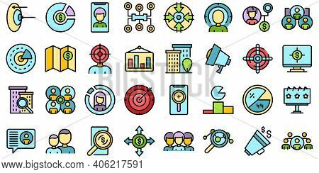 Target Audience Icons Set. Outline Set Of Target Audience Vector Icons Thin Line Color Flat On White
