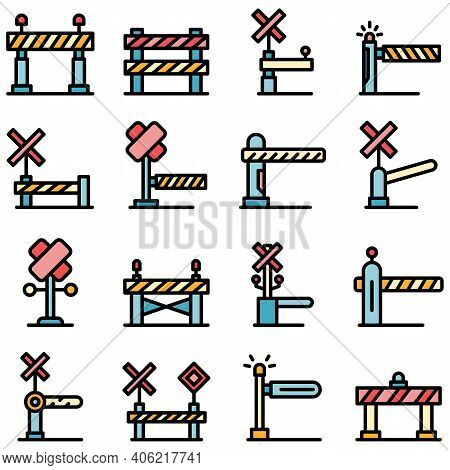 Railroad Barrier Icons Set. Outline Set Of Railroad Barrier Vector Icons Thin Line Color Flat On Whi