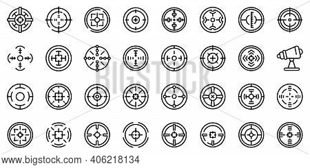 Telescopic Sight Icons Set. Outline Set Of Telescopic Sight Vector Icons For Web Design Isolated On