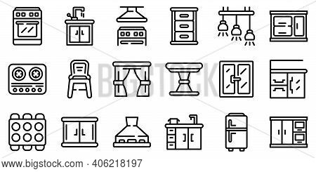 Kitchen Furniture Icons Set. Outline Set Of Kitchen Furniture Vector Icons For Web Design Isolated O