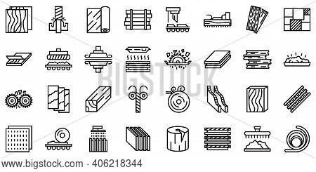 Plywood Icons Set. Outline Set Of Plywood Vector Icons For Web Design Isolated On White Background