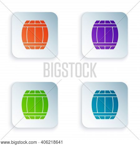 Color Gun Powder Barrel Icon Isolated On White Background. Tnt Dynamite Wooden Old Barrel. Set Color