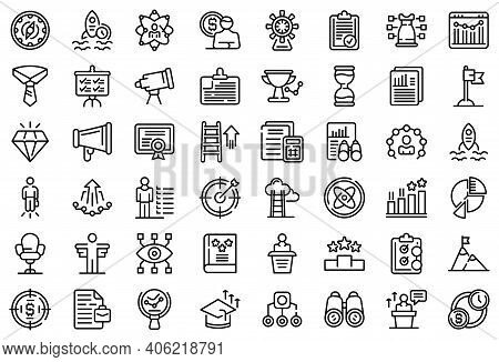 Successful Career Icons Set. Outline Set Of Successful Career Vector Icons For Web Design Isolated O
