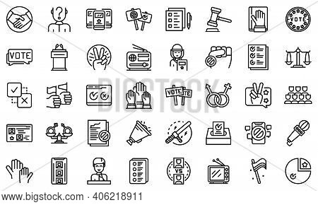 Democracy Icons Set. Outline Set Of Democracy Vector Icons For Web Design Isolated On White Backgrou