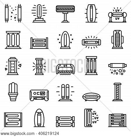 Uv Lamp Icons Set. Outline Set Of Uv Lamp Vector Icons For Web Design Isolated On White Background