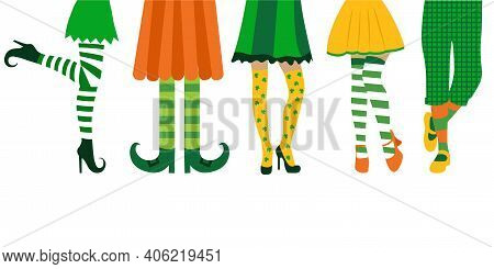 Happy St. Patricks Day. Creative Banner Design With Illustration Of Legs For St. Patricks Day Party