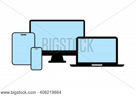 Devices Line Icons For Responsive Design. Vector Set Of Smartphone, Computer Laptop Or Tab Pad