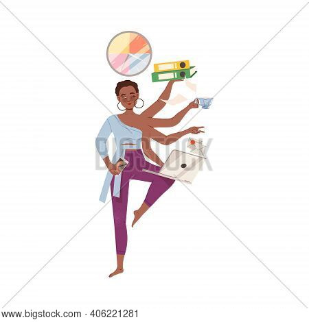 Young Female With Multiple Arms Multitasking As Time Management Vector Illustration