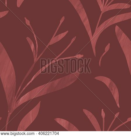 Seamless Monochrome Dark Red Pattern With Hand-drawn Plants And Branches. Linen, Bedclothing, Print,