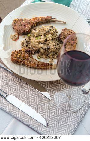 Marinated Broiled Lamb Rib With Cheesy Mushroom Risotto