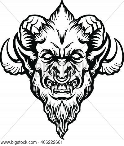Head Angry Demon Satan Silhouette Illustrations For Your Work Logo, Mascot Merchandise T-shirt, Stic