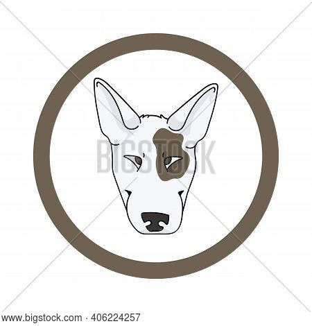 Cute Cartoon Bull Terrier Face In Circle Dog Vector Clipart. Pedigree Kennel Doggie Breed For Kennel