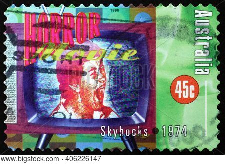 Australia - Circa 1998: A Stamp Printed In The Australia Shows Horror Movie, Song By Skyhooks, Rock