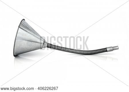 Flexible galvanised metal funnel used to funnel oil or any liquid. On white background with copy space.