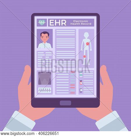Electronic Health Record, Ehr Digital Patient Chart, Tablet In Hands. Screen With Medical History, D