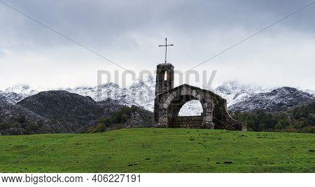 View From Ermita Del Buen Pastor, In Lagos De Covadonga, Asturias, Spain