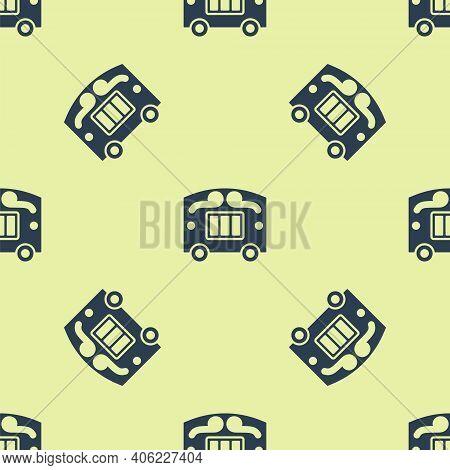 Blue Circus Wagon Icon Isolated Seamless Pattern On Yellow Background. Circus Trailer, Wagon Wheel.