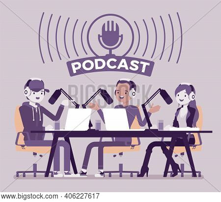 Podcast Recording Of Audio Discussion, Program Of Talk. Young Happy People Enjoy Doing Interviews, M