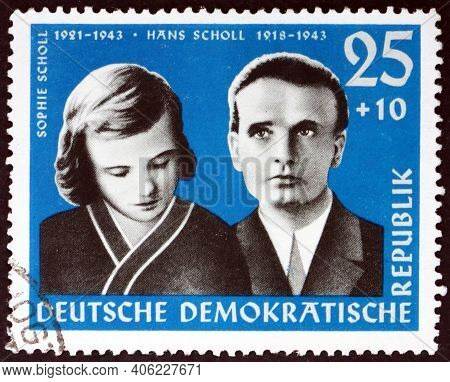 Germany - Circa 1961: A Stamp Printed In Germany Shows Sophie And Hans Scholl, Were Members Of The W
