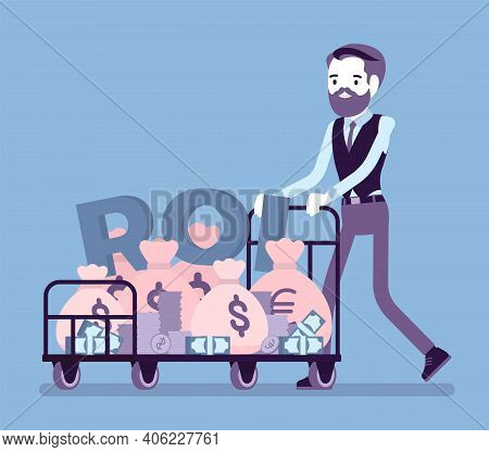Return On Investment, Roi, Businessman Pushing Trolley Full Of Cash. Young Man With Cart, Dollar Sac