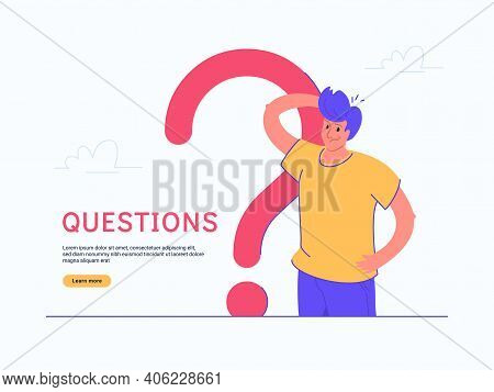 Young Doubting Man Standing Near Big Question Symbol On White Background. Flat Modern Concept Vector