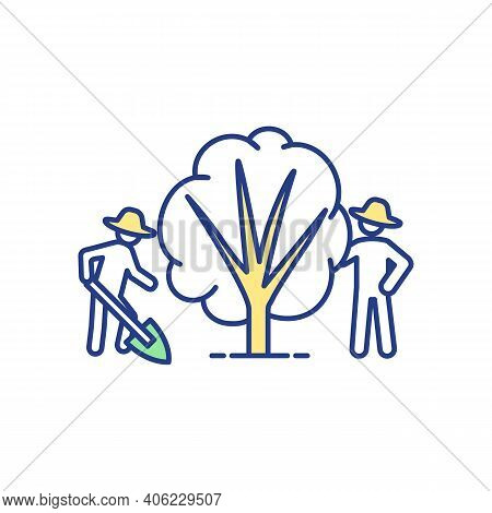 Community Garden Rgb Color Icon. Tree Cultivation. Farmer With Shovel. Gardeners Caring For Plant. R