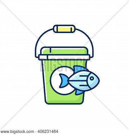 Fishing Bucket Rgb Color Icon. Basic Fishing Equipment. Trophy Catching. Live Fish Storage. Fishing