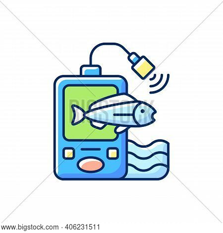 Fish Finder Rgb Color Icon. Fishers Equipment. Hobby And Leisure Activity. Way To Find Fish. Efficie